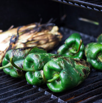 Stuffed poblano peppers with black beans, grilled corn and cheese