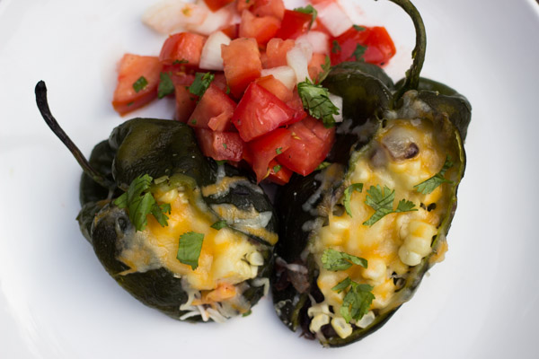 Stuffed Poblano Peppers With Black Beans, Grilled Corn and Cheese ...