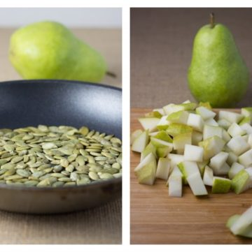 Toasted pumpkin seeds and diced pear