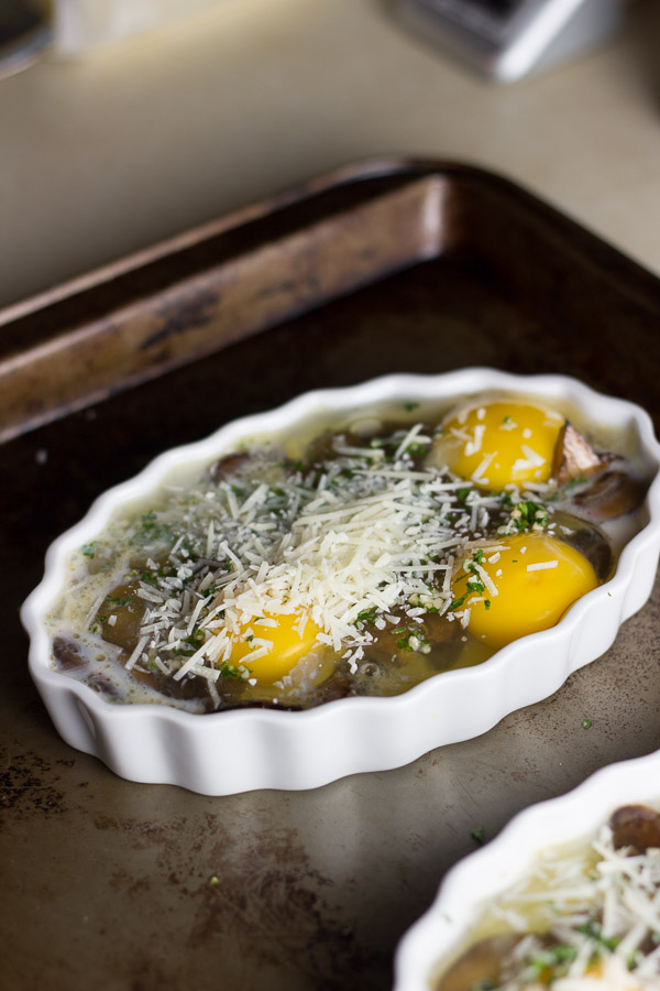 Baked Eggs with Soy Sauce Mushrooms | Ginger & Toasted Sesame