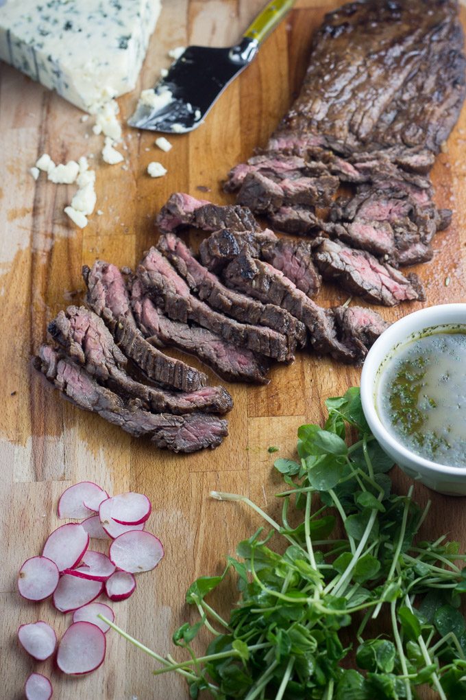 Balsamic Skirt Steak Tacos with Blue Cheese and Chimichurri-3
