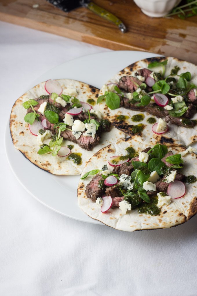 Balsamic Skirt Steak Tacos with Blue Cheese and Chimichurri-4