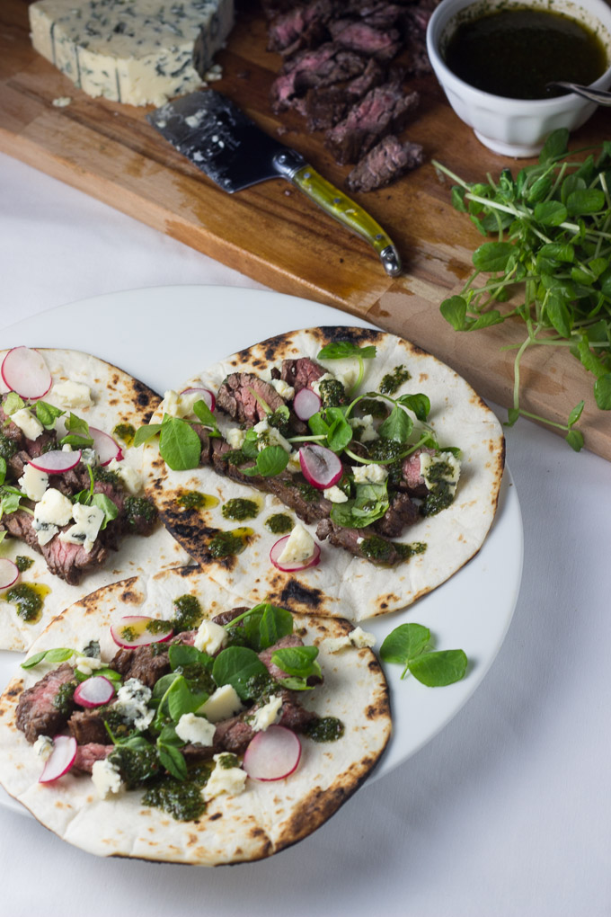 Balsamic Skirt Steak Tacos with Blue Cheese and Chimichurri-5
