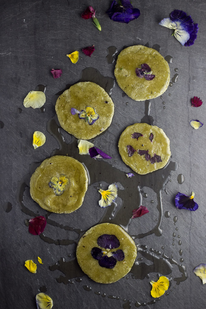 Hwajeon – Sweet Matcha Rice Cakes with Fresh Flowers and Honey Syrup
