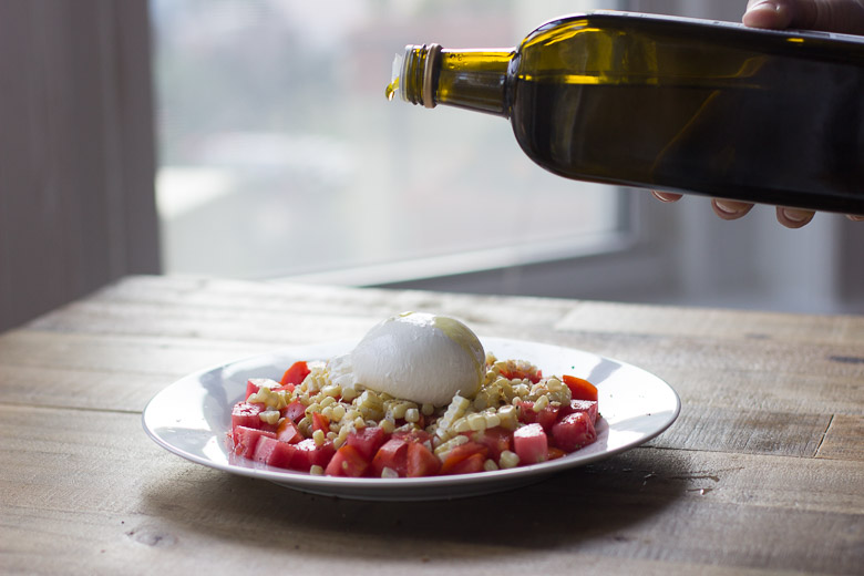 Tomato, Charred Corn and Burrata Salad-6
