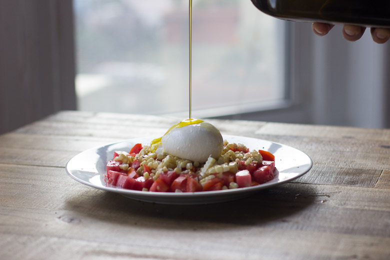 Tomato, Charred Corn and Burrata Salad-7